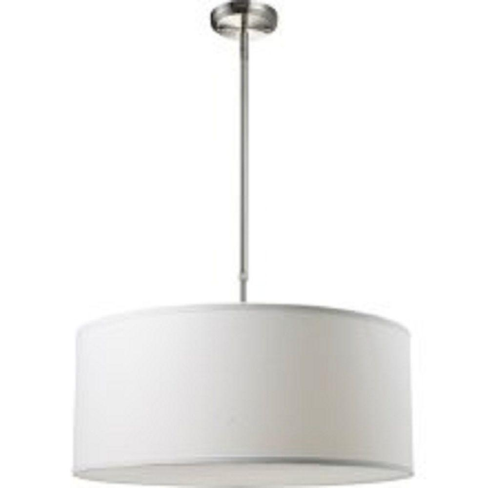 Filament Design Kindra 3 Light Brushed Nickel Modern Pendant With White Linen Fabric Shade