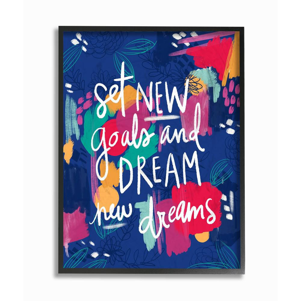 The stupell home decor collection 16 in x 20 in new goals painted inspirational by pen paint printed framed wall art mwp 419 fr 16x20 the home depot