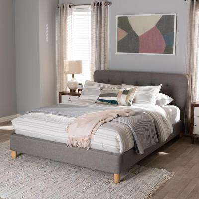 Laureo Mid-Century Gray Fabric Upholstered Queen Size Bed