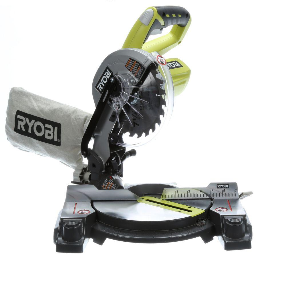 Ryobi 18 volt one 7 14 in miter saw tool only p551 the home depot ryobi 18 volt one 7 14 in miter saw tool greentooth Image collections