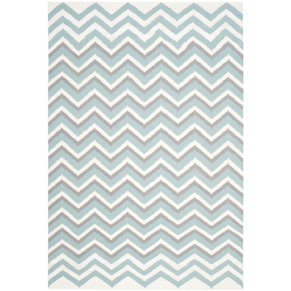 Dhurries Blue/White 5 ft. x 8 ft. Area Rug