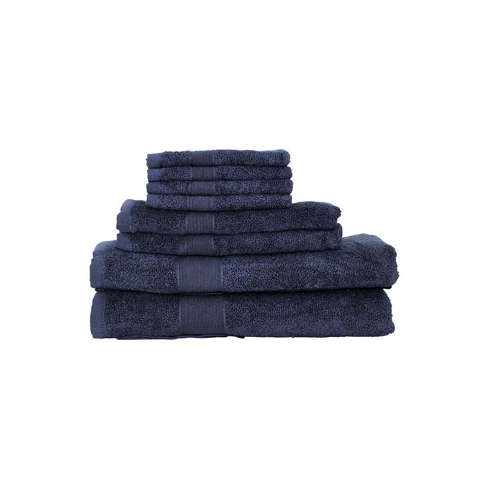 Luxury 8 Piece Cotton Towel Set in Navy