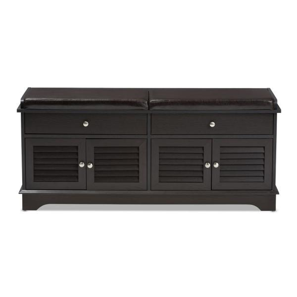 Baxton Studio Leo Dark Brown Storage Bench