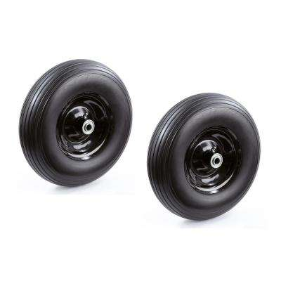 13 in. No Flat Wheelbarrow Replacement Wheel (2-Pack)