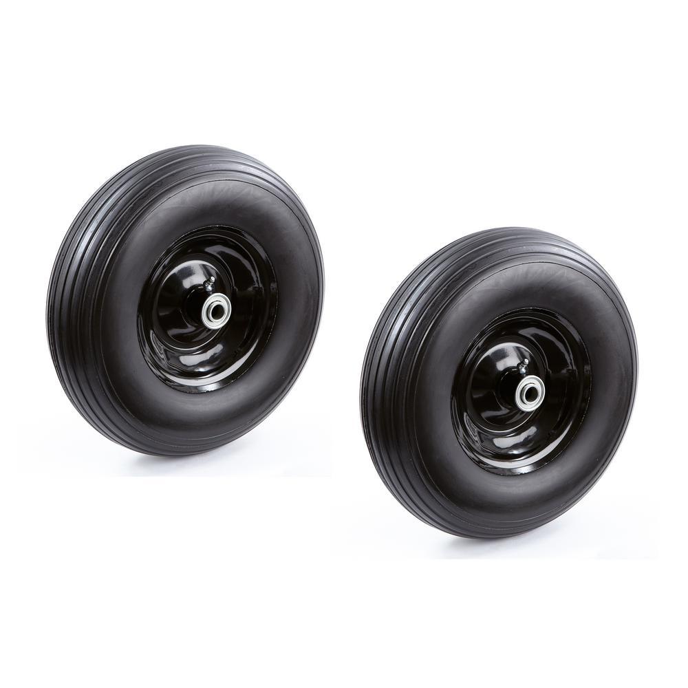 13 in. No Flat Wheelbarrow Replacement Wheel (2-Pack)
