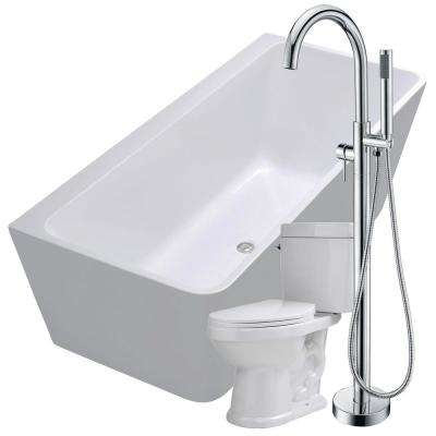 Strait 67 in. Acrylic Flatbottom Non-Whirlpool Bathtub in White with Kros Faucet and Talos 1.6 GPF Toilet