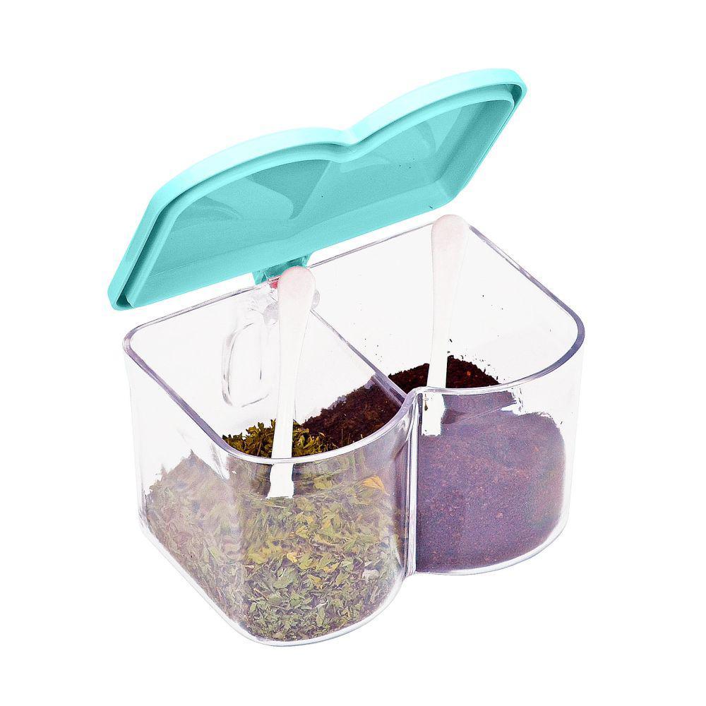 2-Compartment Acrylic Blue Seasoning Box