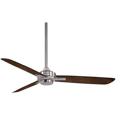 Rudolph 52 in. Indoor Brushed Nickel with Medium Maple Ceiling Fan with Wall Control