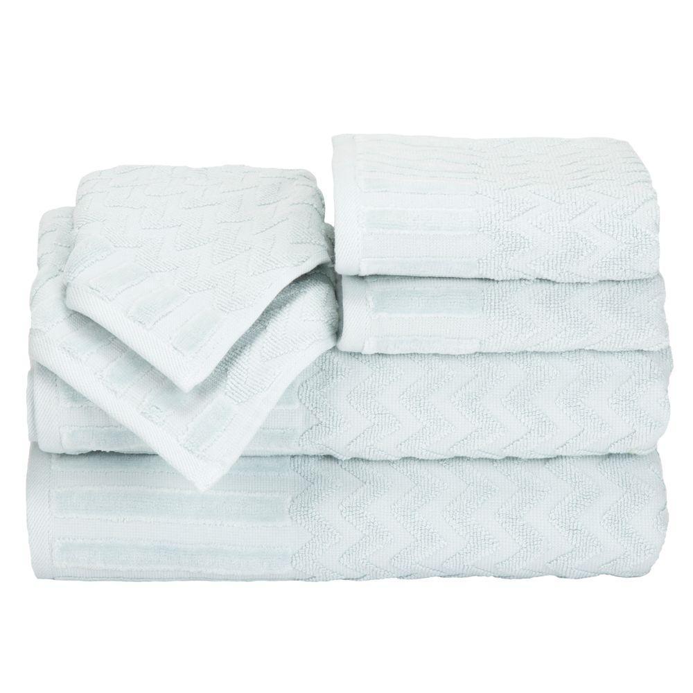 Lavish Home Chevron Egyptian Cotton Towel Set in Seafoam (6-Piece) 67-0020-SF