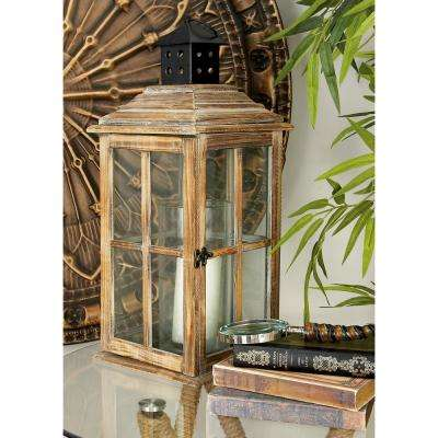 23 in. New Traditional Brown Wood and Glass Candle Lantern