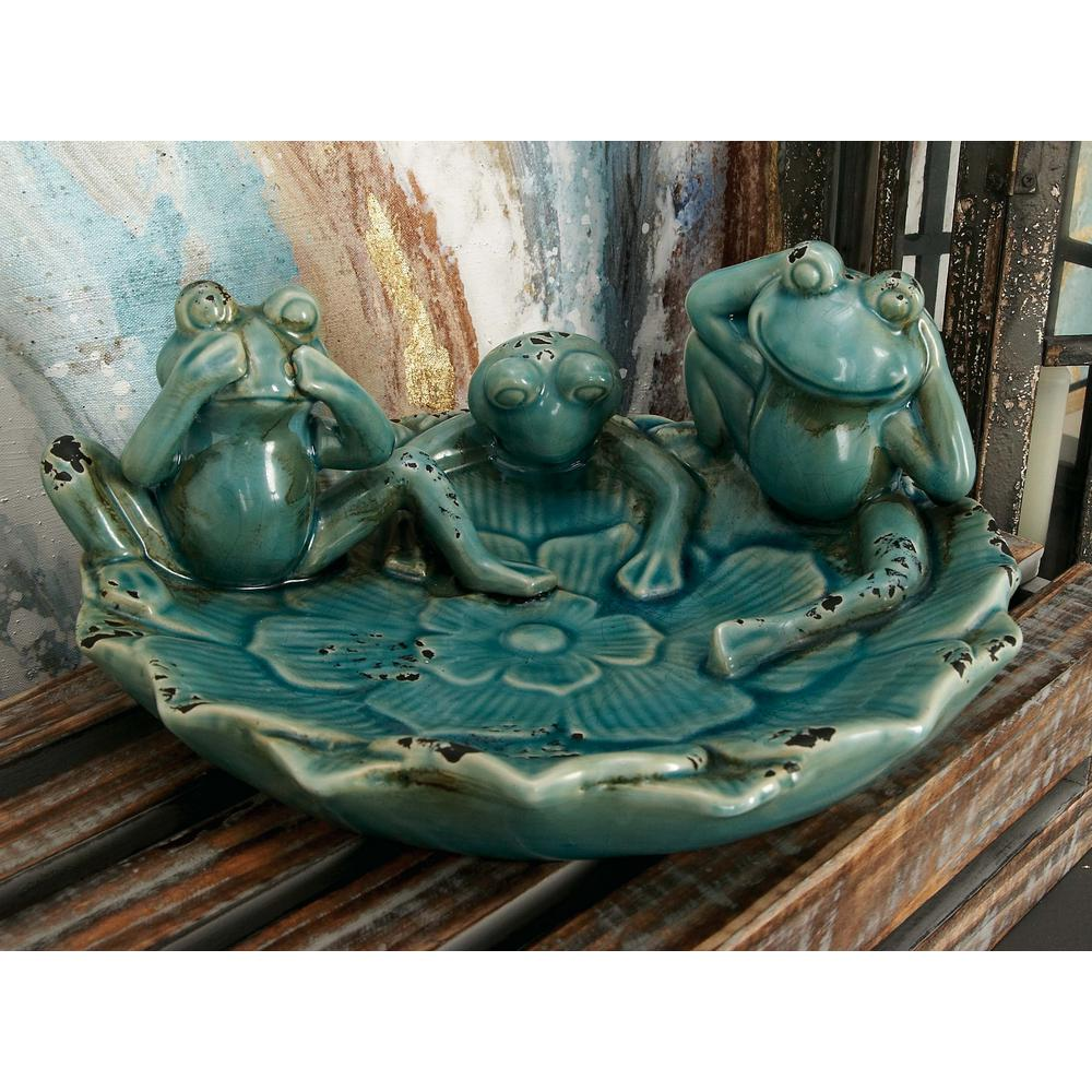 Distressed Ceramic Cyan Frogs Decorative Bowl