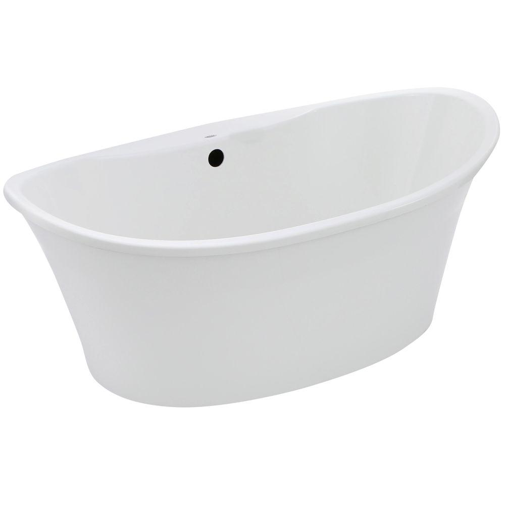 MAAX Orchestra 66 In. Fiberglass Center Drain Non Whirlpool Flatbottom  Freestanding Bathtub In White