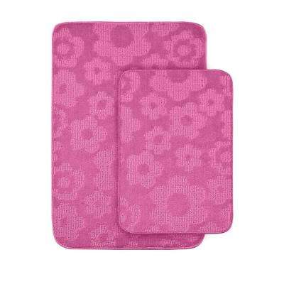 Charming Flowers Pink 20 In X 30 In. Washable Bathroom 2 Piece Rug Set