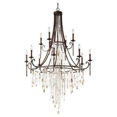 Cascade 12-Light Heritage Bronze Multi-Tier Chandelier