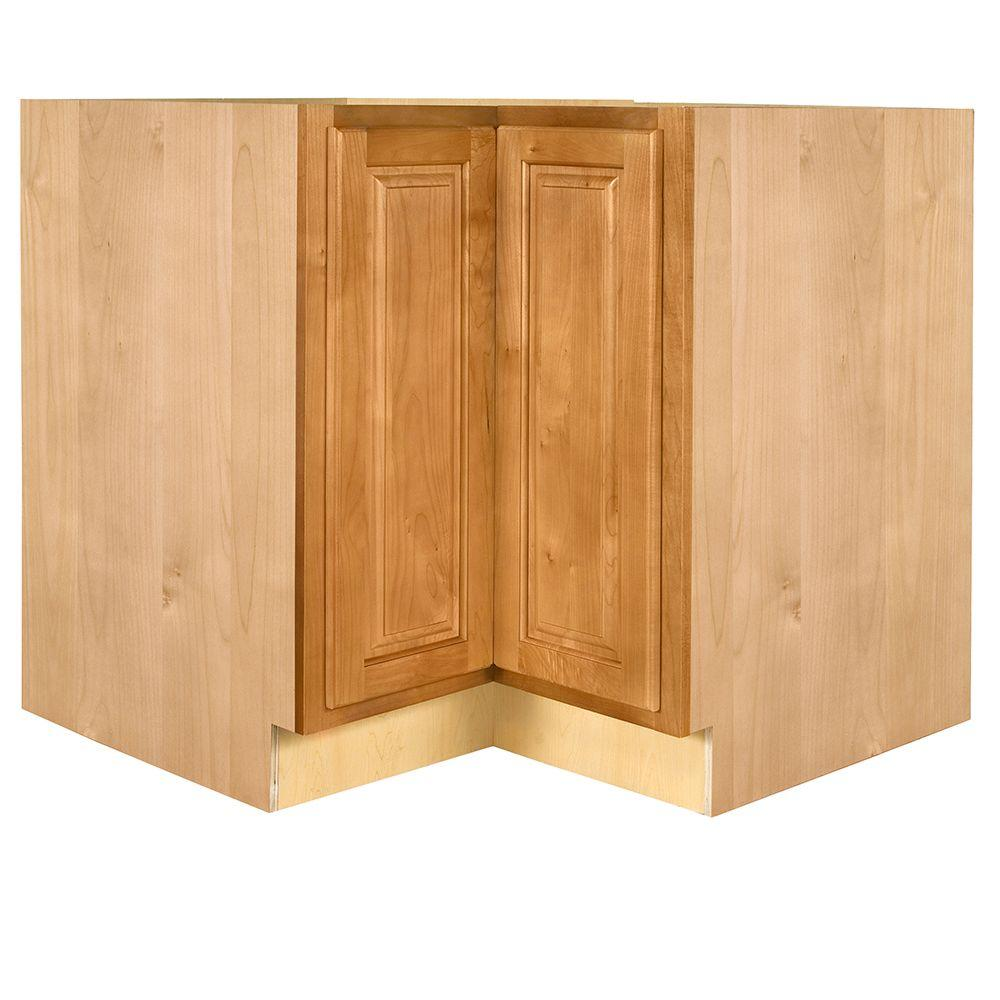 Home Decorators Collection Woodford Assembled 36 x 34.5 x 24 in. Base Easy Reach Corner Cabinet in Cinnamon