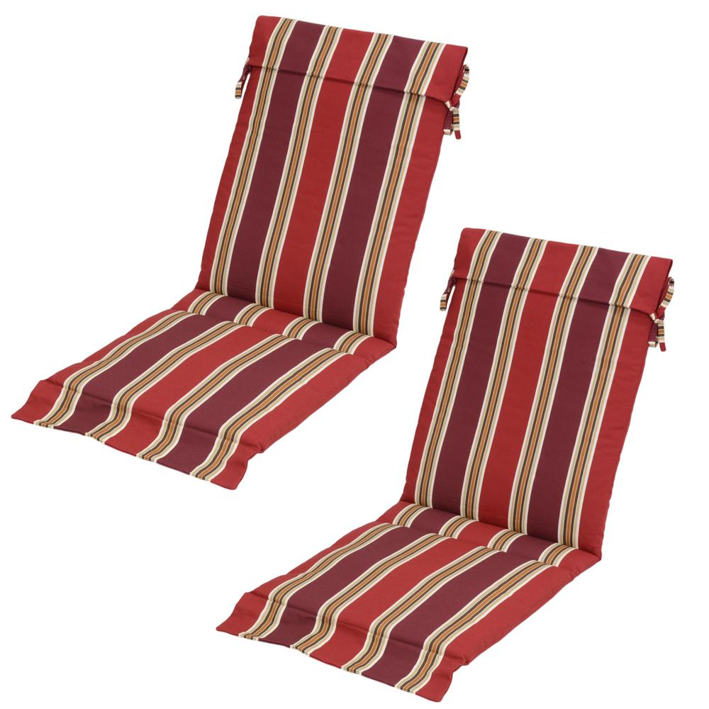 Chili Stripe Outdoor Sling Chair Cushion (Pack Of 2)