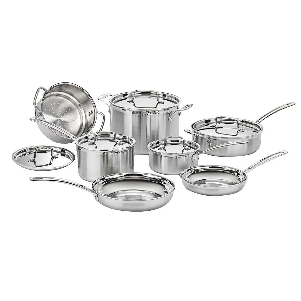 MultiClad Pro 12-Piece Stainless Cookware Set with Lids