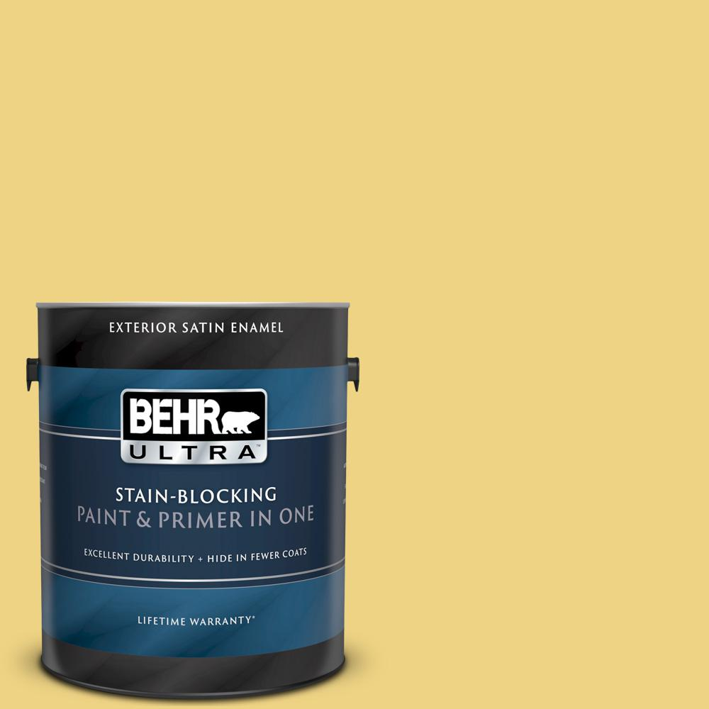 Behr Ultra 1 Gal 380d 4 Feather Gold Satin Enamel Exterior Paint And Primer In One 985401 The Home Depot