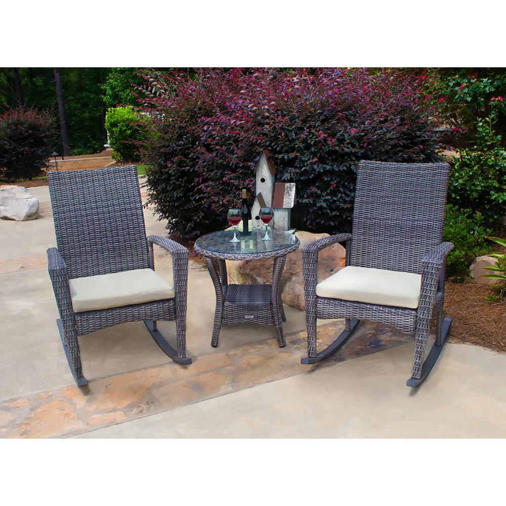 Bayview Driftwood 3-Piece Wicker Outdoor Rocking Chair Set with Tan Cushion