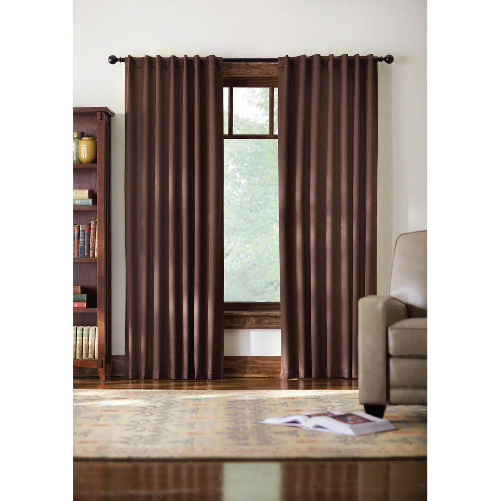 Home Decorators Collection Blackout Brown Monaco Thermal Foam Backed Lined Back Tab Curtain - 52 in. W x 84 in. L