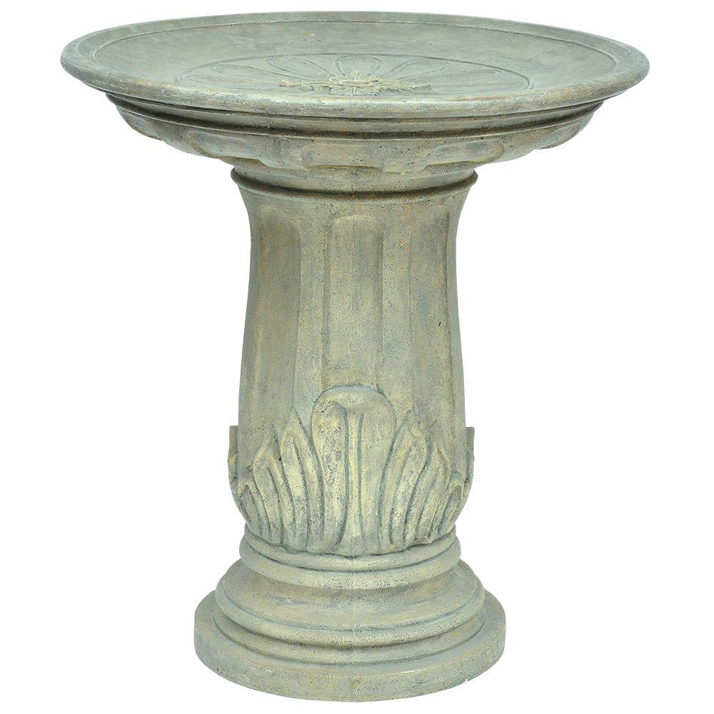 Aged Granite Finish Cast Stone Royal Leaf Birdbath