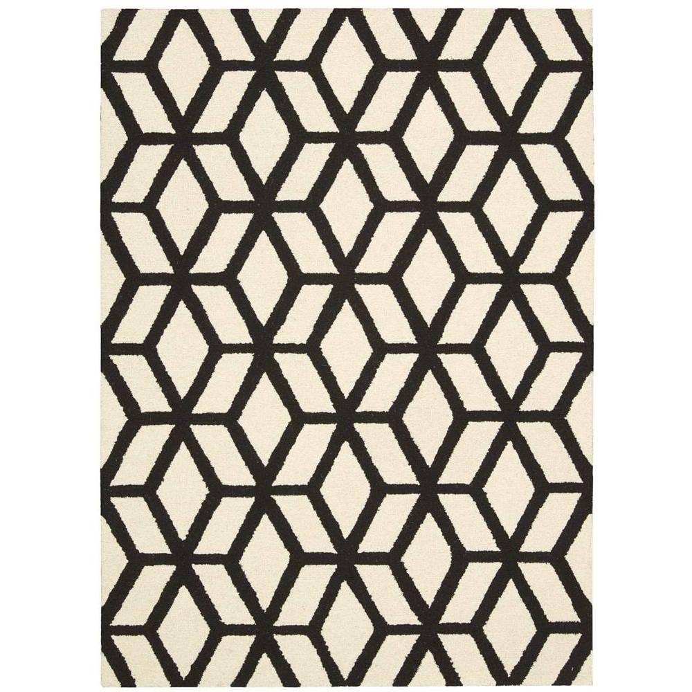 Nourison Linear Ivory/Black 3 ft. 9 in. x 5 ft. 9 in. Area Rug