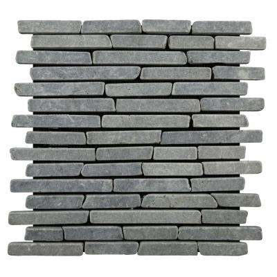 Sticks Tile Grey 11-3/4 in. x 11-3/4 in. x 9.5 mm Indonesian Marble Mesh-Mounted Mosaic Tile (10.67 sq. ft. / case)