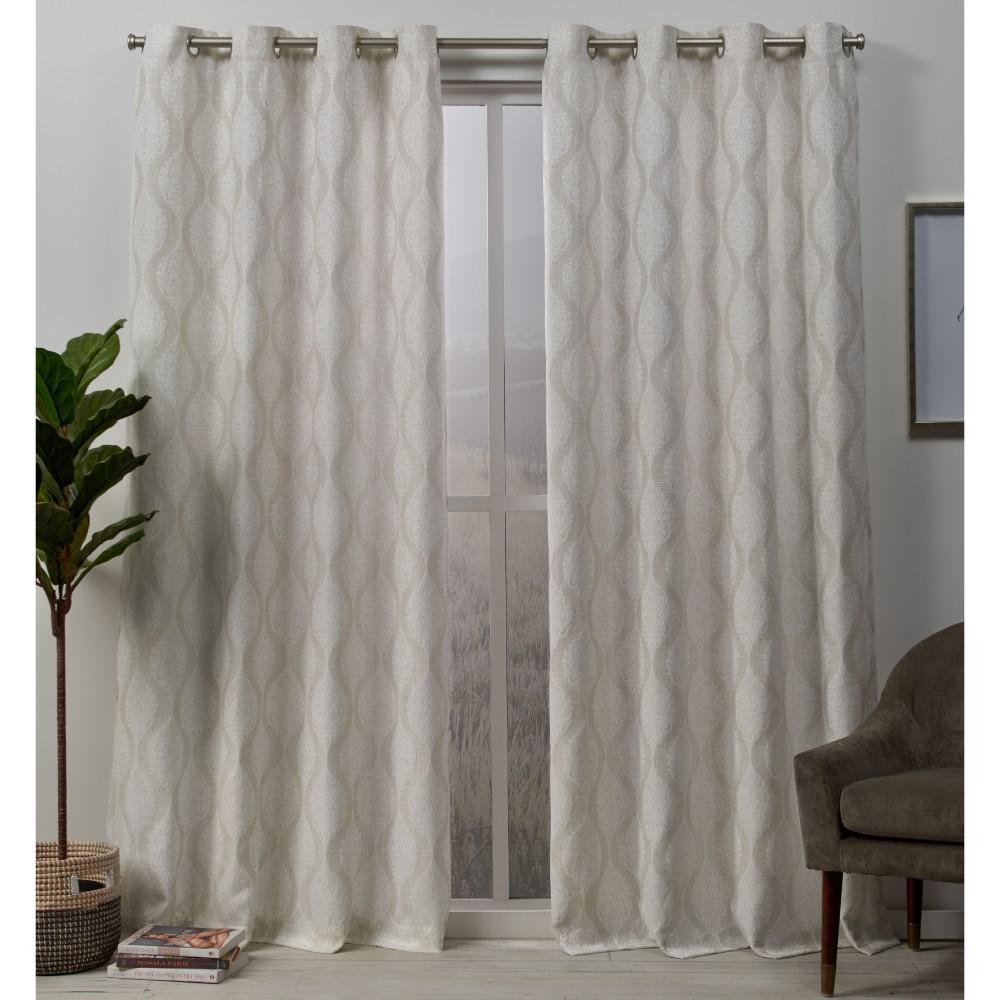 Stark 54 in. W x 96 in. L Medallion Textured Grommet Top Curtain Panel in Linen (2-Panel)