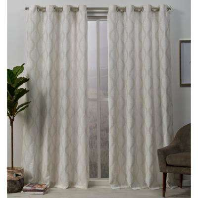Stark 54 in. W x 96 in. L Medallion Textured Grommet Top Curtain Panel in Linen (2-Panel)