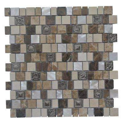 Charm II Cappuccino 12 in. x 12 in. x 8 mm Glass and Stone Mosaic Tile