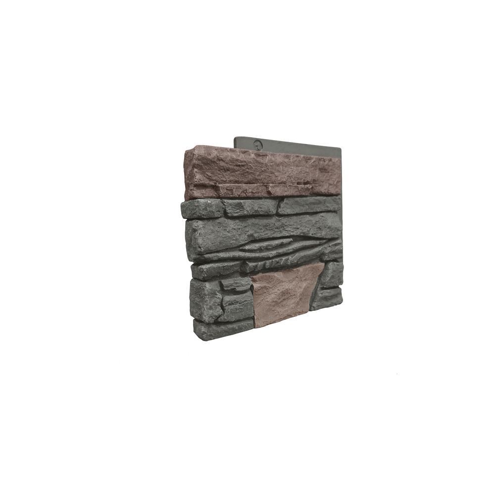 Stacked Stone Keystone 12 in. x 1.375 in. x 12 in. Faux Stone Siding Corner Panel Left