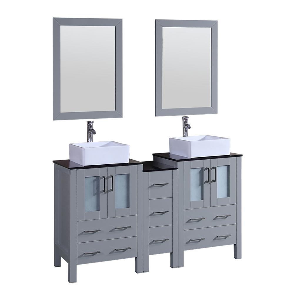 59.5 in. W Double Bath Vanity in Gray with Vanity Top in Black with ...