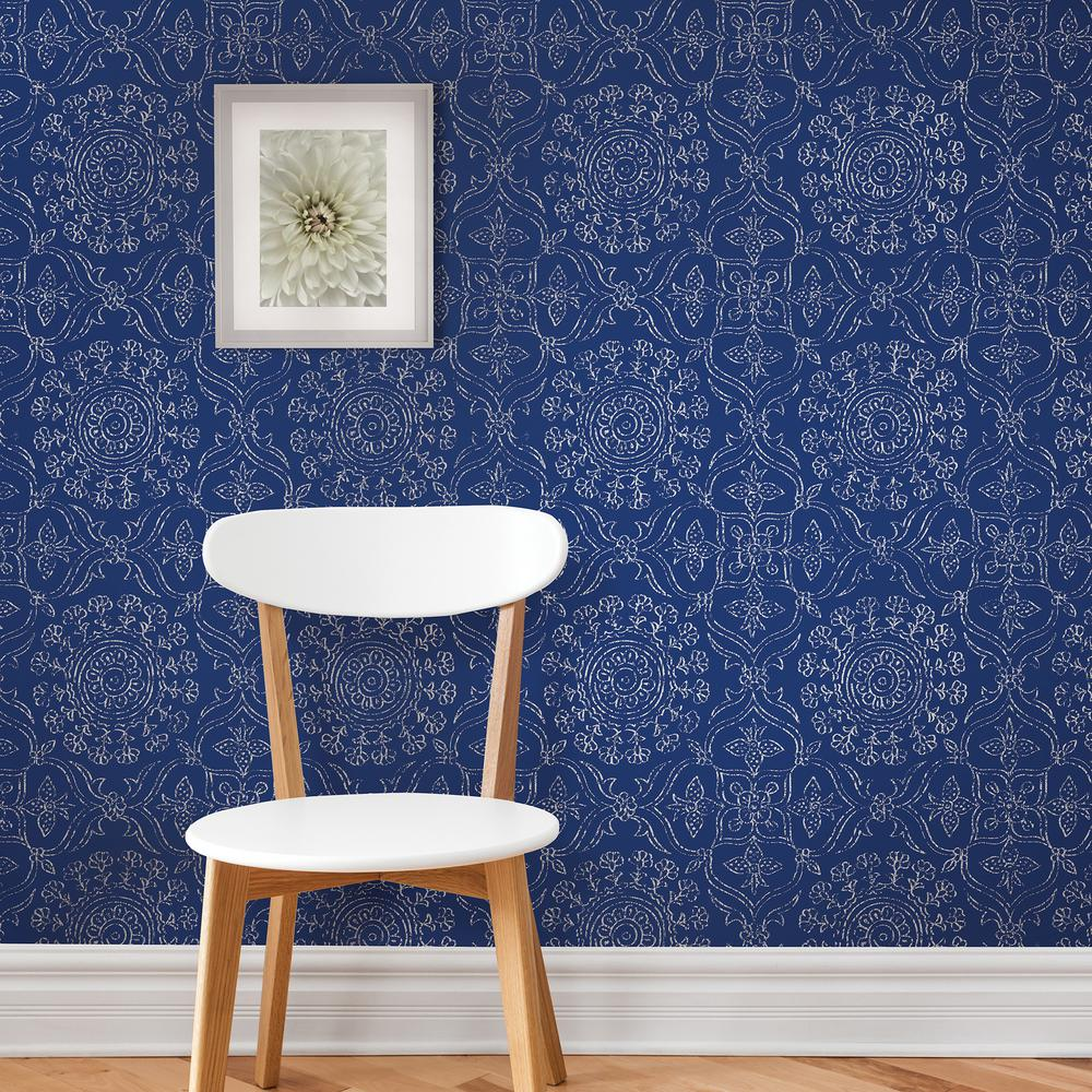 Nuwallpaper blue byzantine peel and stick wallpaper nu1816 - Best peel and stick wallpaper ...