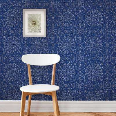Blue Byzantine Peel and Stick Wallpaper