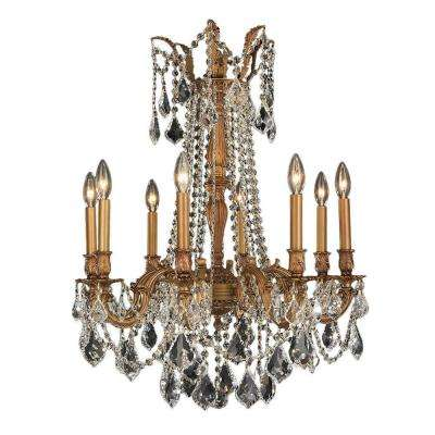 Windsor Collection 8-Light French Gold and Clear Crystal Chandelier