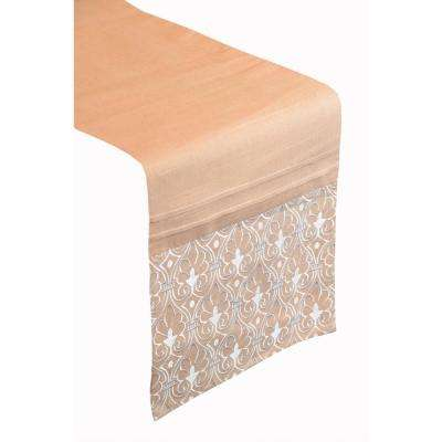Tan Arabesque Poly and Linen Table Runner