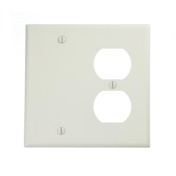 2 New Leviton Gray UNBREAKABLE 2-Gang Light Switch Cover Plates Double Wallplate