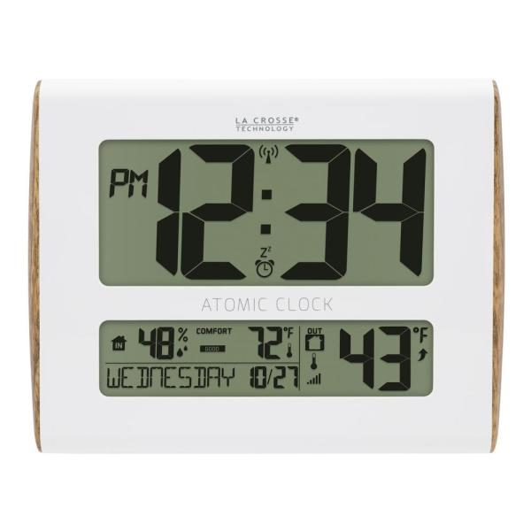 Digital Atomic Faux Wood Sided Wall Clock with Temperature and Indoor Humidity