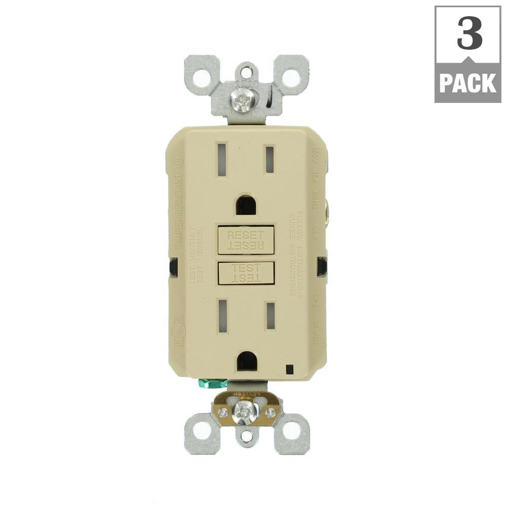 15 Amp 125-Volt Duplex SmarTest Self-Test SmartlockPro Tamper Resistant GFCI Outlet, Ivory (3-Pack)