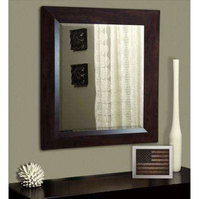 27.75 in. x 31.75 in. Dark Walnut Rounded Beveled Wall Mirror