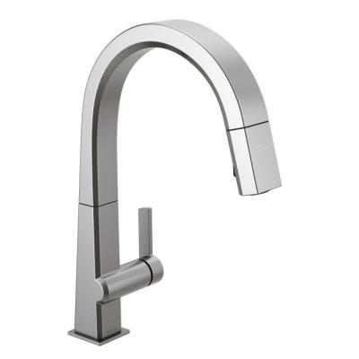 Delta Pivotal Single Handle Pull Out Sprayer Kitchen Faucet In Arctic Stainless 4193 Ar Dst The Home Depot