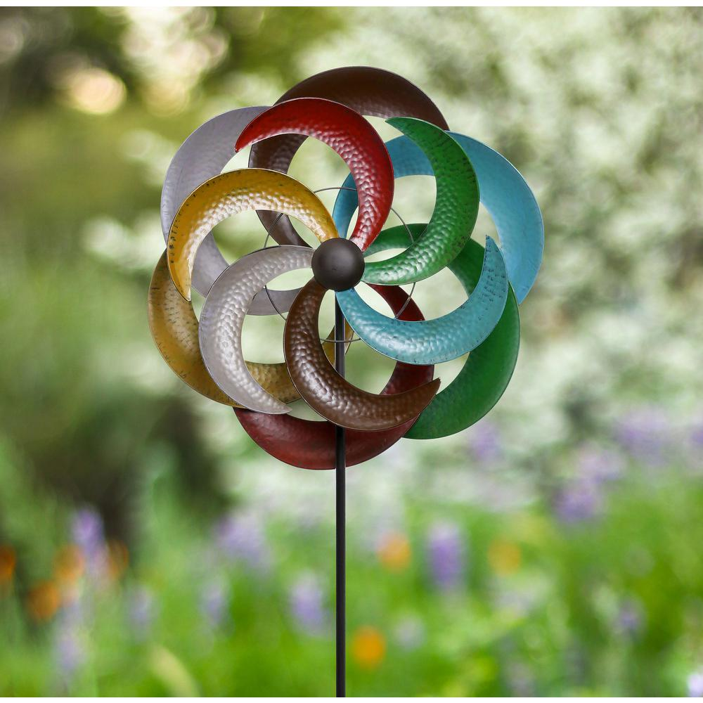 80 in. Metal Multi-Color Windmill Stake