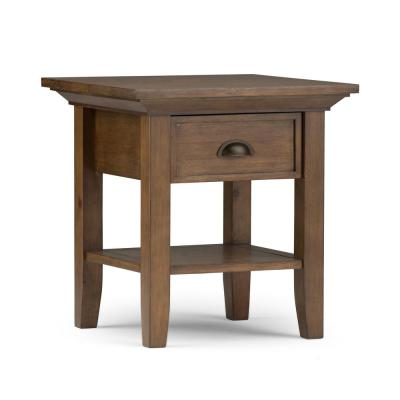 Redmond Solid Wood 19 in. Wide Square Rustic End Side Table in Rustic Natural Aged Brown