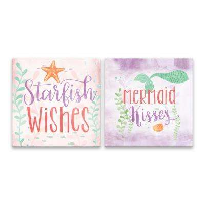 """Starfish Wishes and Mermaid Kisses - Set of 2"" by Lot26 Studio Printed Canvas Wall Art"