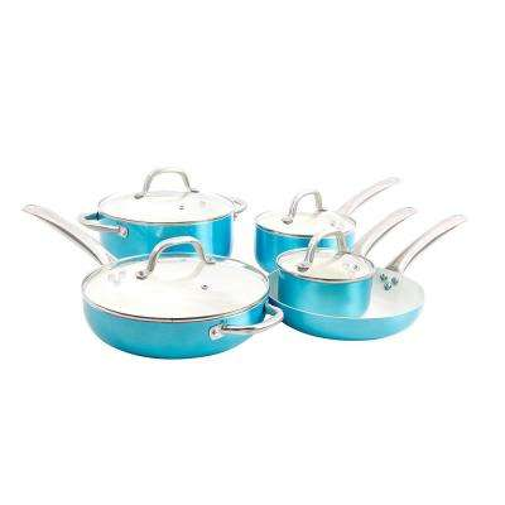 Montecielo 9-Piece Metallic Turquoise Cookware Set with Lids