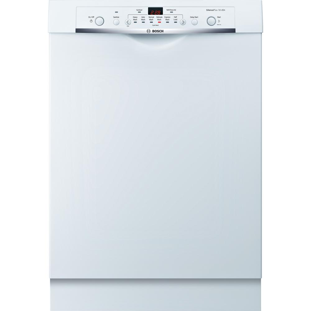 Bosch Ascenta Series Front Control Tall Tub Dishwasher in White with Hybrid Stainless Steel Tub, 50dBA