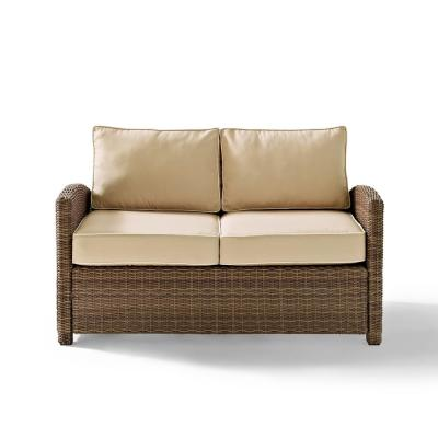 Bradenton Wicker Outdoor Loveseat with Sand Cushions