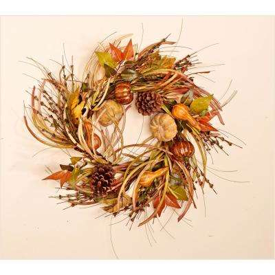 24 in. Gourd Leaf and Grass Wreath