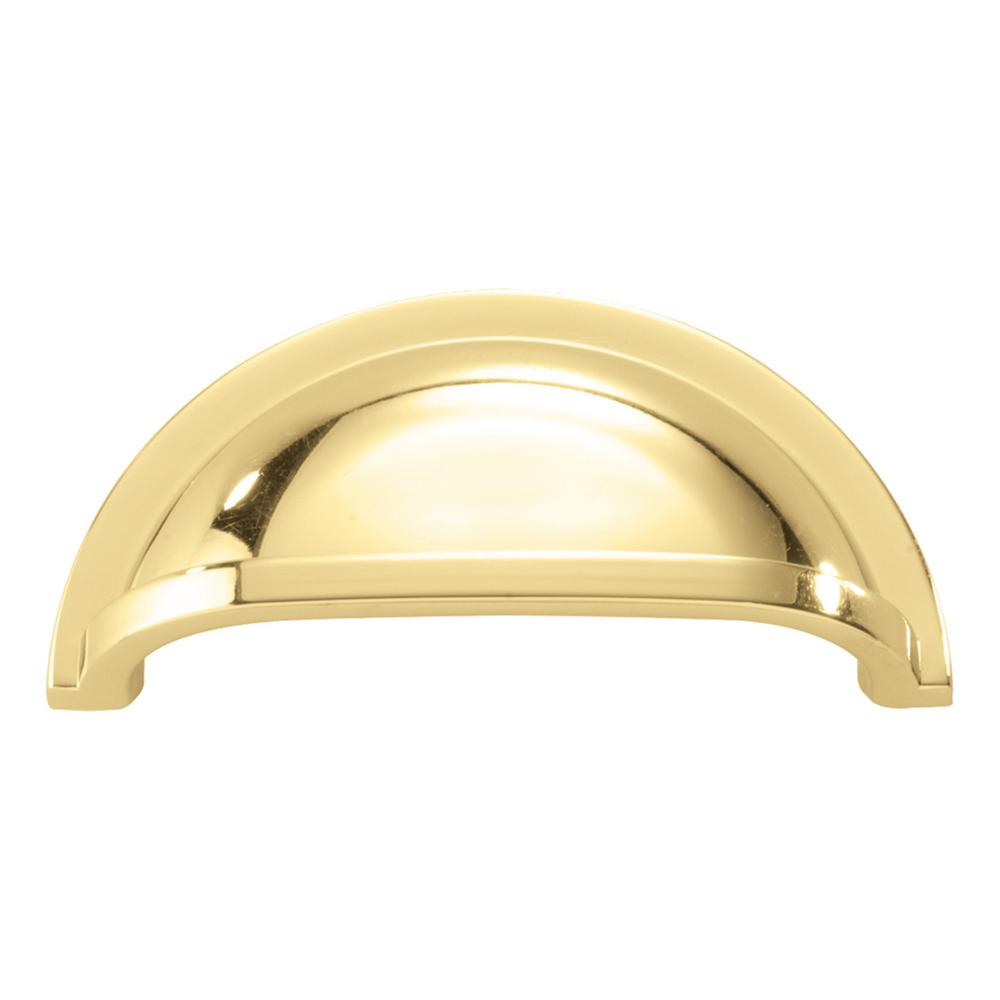 Hickory Hardware Williamsburg 3 in. Center-to-Center Polished Brass Cup Pull