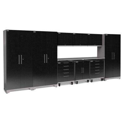 Performance Plus Diamond Plate 2.0 80 in. H x 197 in. W x 24 in. D Garage Cabinet Set in Black (10-Piece)